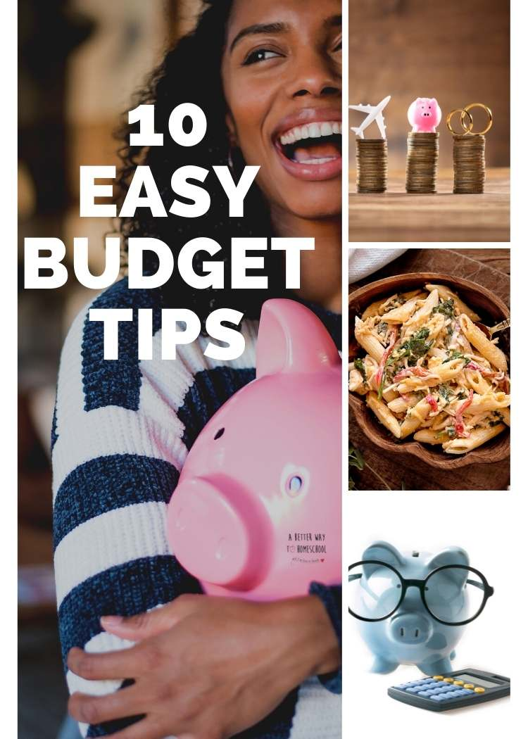 Budgeting for beginners- collage woman hugging pink piggy bank, coins stacked with symbols on top, piggy with glasses, casserole
