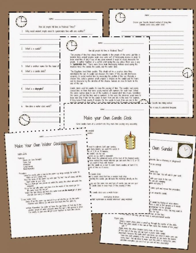 http://www.teacherspayteachers.com/Product/Medieval-Science-Sundials-Candle-Clocks-and-Water-Clocks-1492029