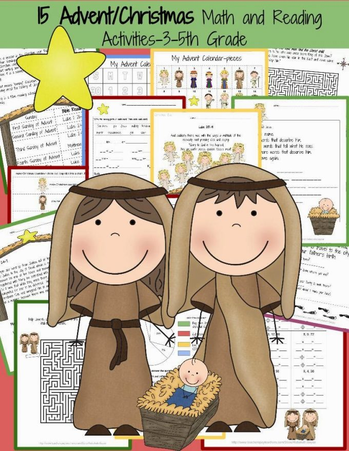 http://www.teacherspayteachers.com/Product/15-Advent-and-Christmas-Math-and-Reading-Activities-3rd-5th-Grade-1579626