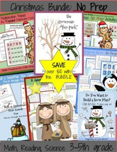 Christmas and winter printables for kids including mazes, math, reading, coloring and more