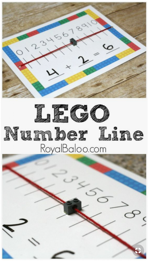 Teach number line with LEGO