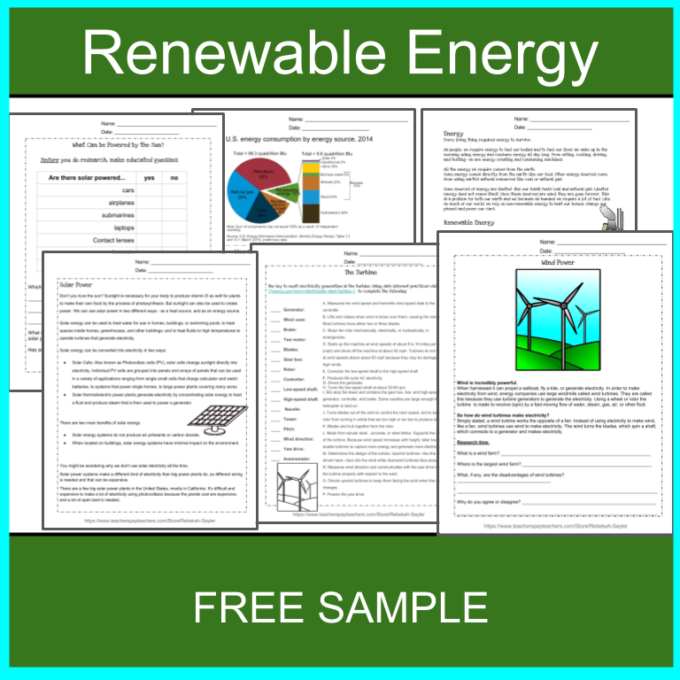 Renewable Energy Worksheets
