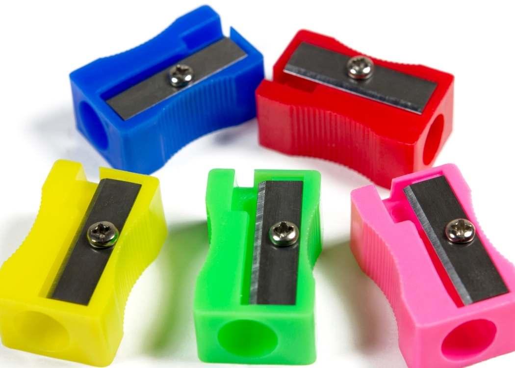 Five colorful pencil sharpeners