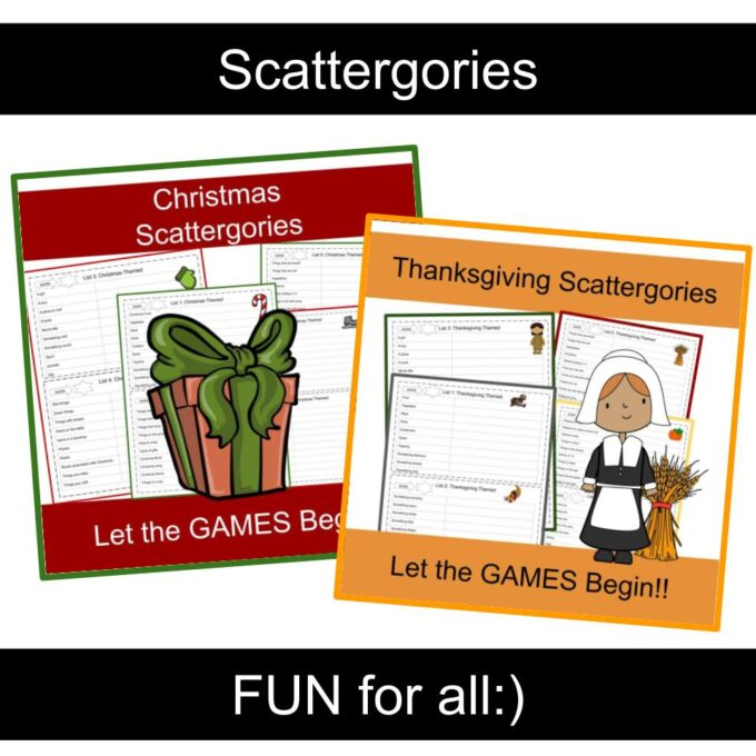 Thanksgiving scattergories, Christmas Scattergories
