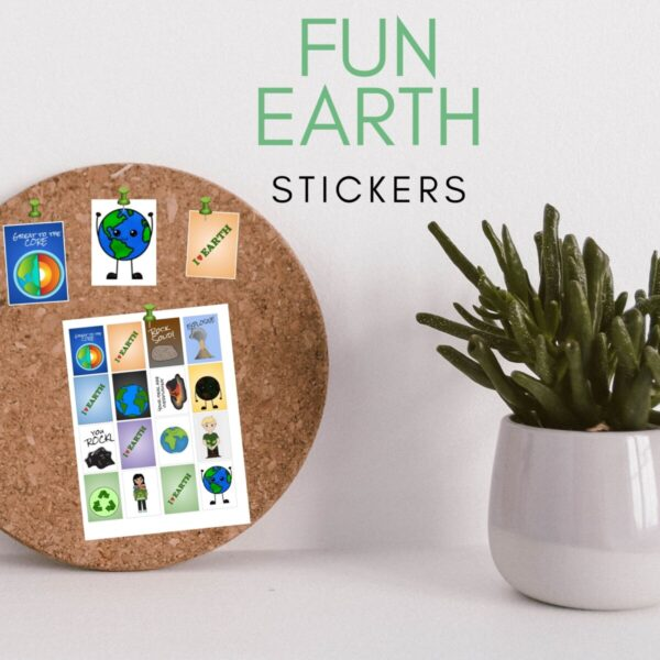 Fun Earth day Stickers on a bulletin board next to a plant in a white pot with eh title Earth Day stickers