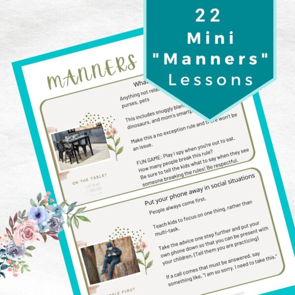 image of manners printable with title 22 mini manners lessons