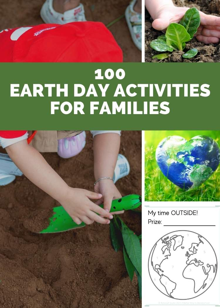 Earth day activities for family collage, child digging in the dirt, hand planting seedling, heart shaped globe in the grass, earth day worksheet