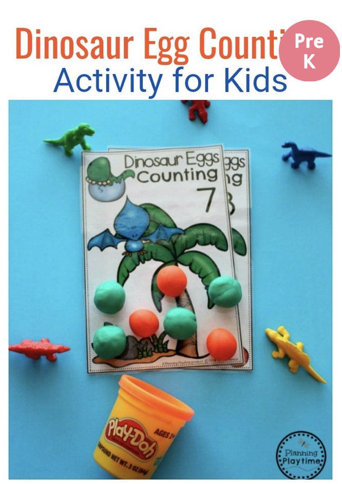 Dinosaur egg counting printable worksheets with toy dinosaurs  and balls of play dough