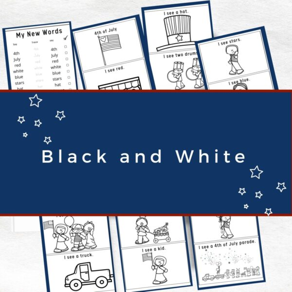 black and white 4th of July reader