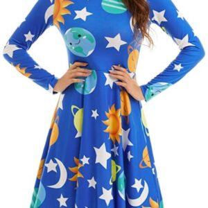 Woman in dress with solar system pattern