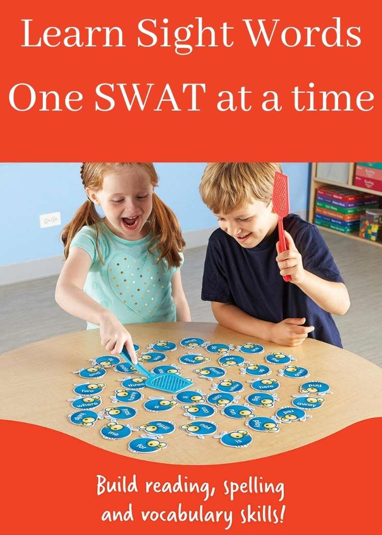 Two kids slapping sight word flies with plastic fly swatters