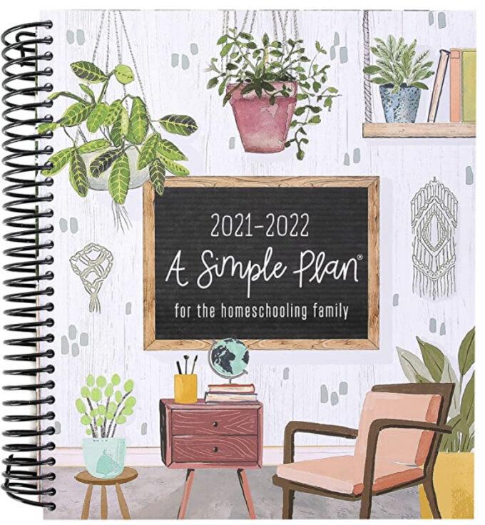 A spiral bound simple homeschool planner