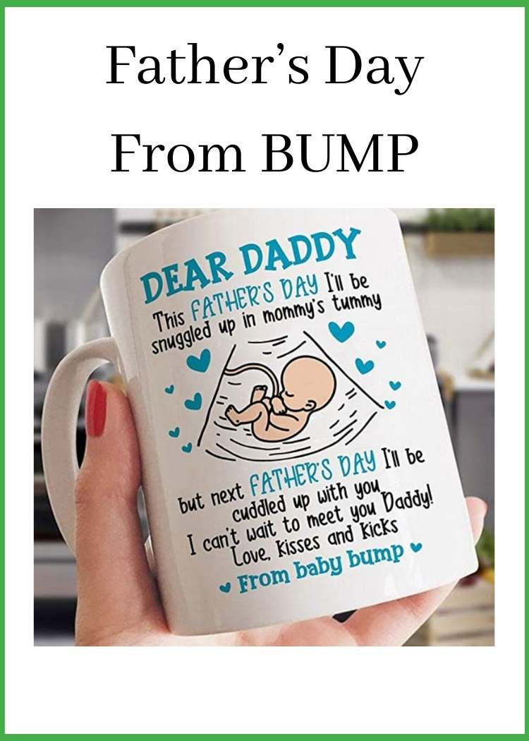 Hand holding coffee mug with message from baby bump
