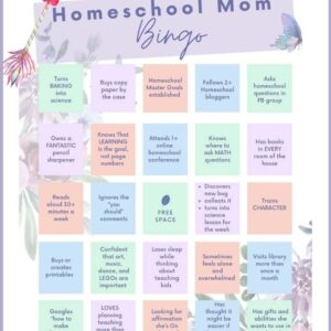 Homeschool mom printable bingo game card