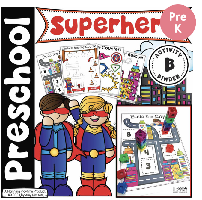 Collage of super hero Printables and activities