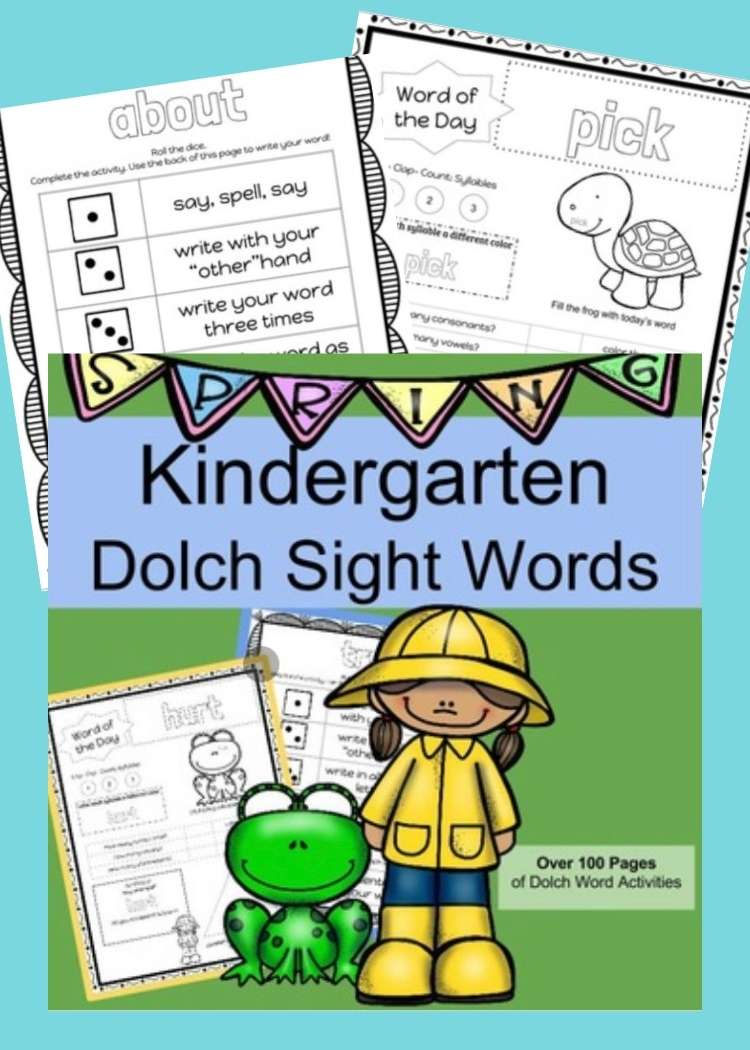 Collage of phonics and sight word worksheets