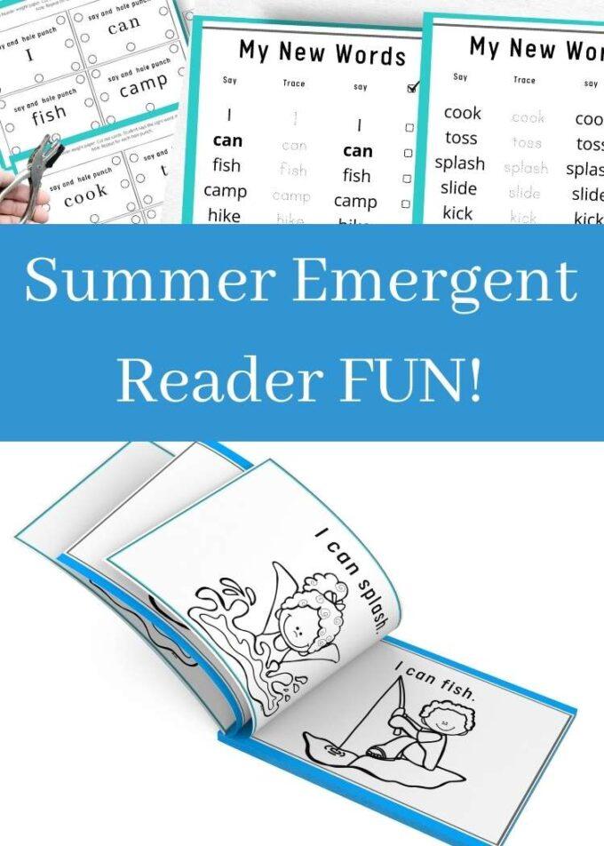 summer emergent reader collage
