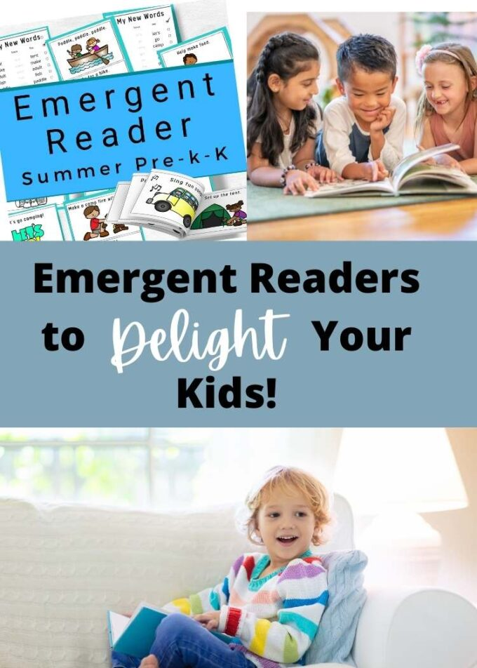 collage, emergent readers printable set, three kids laying on their stomachs reading, a child sitting on the sofa with a book