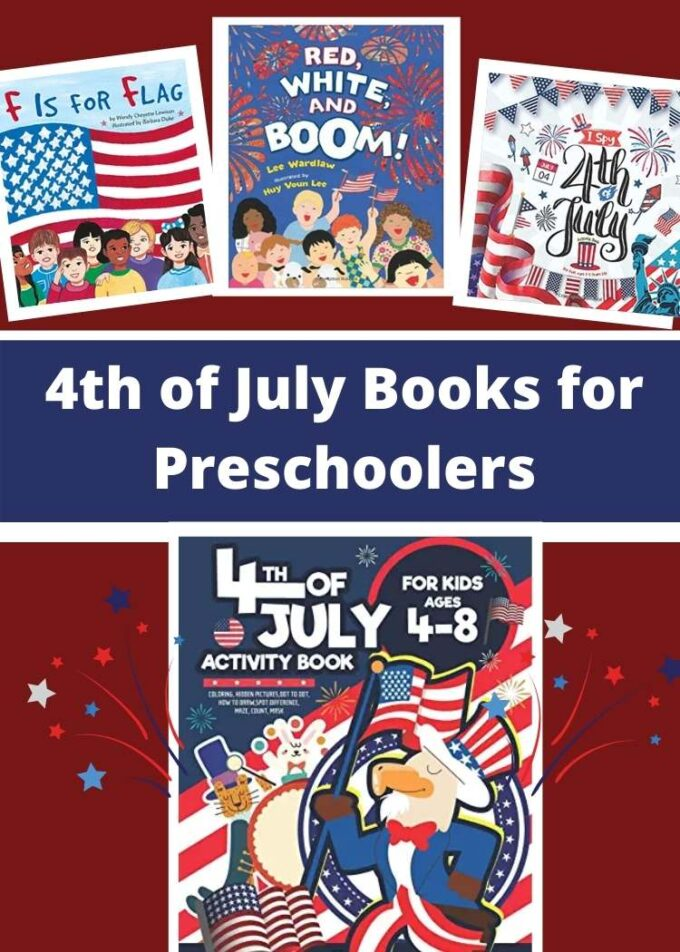 collage of 4th of July books for preschoolers