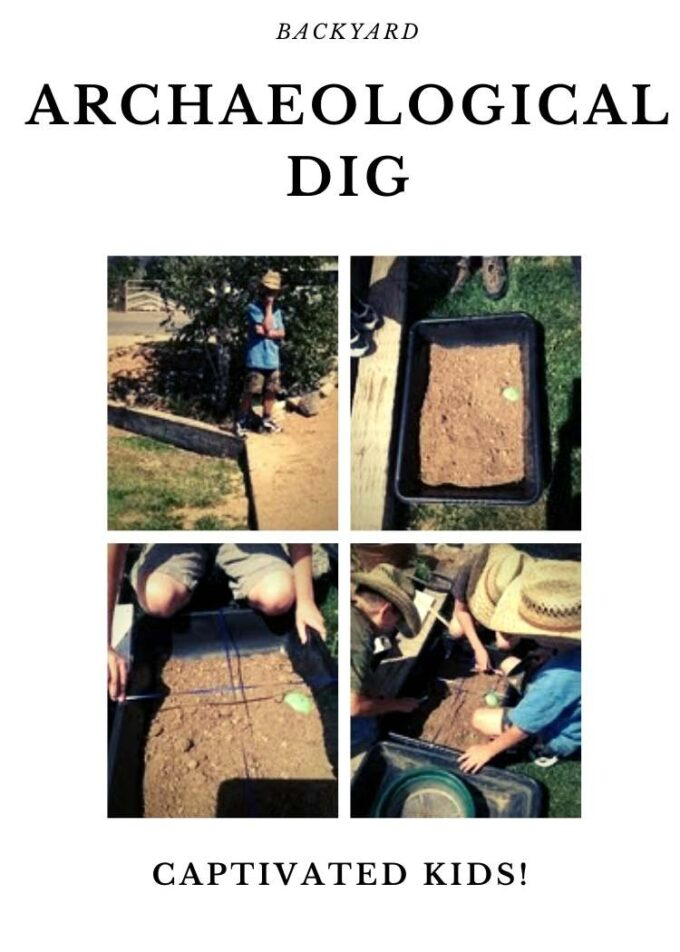 Collage of kids doing a backhoe-are archaeological dig