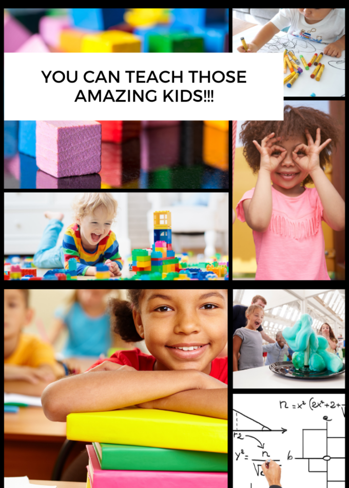 collage of kids in educational settings, building blocks, playing peek a boo, reading, science, and math