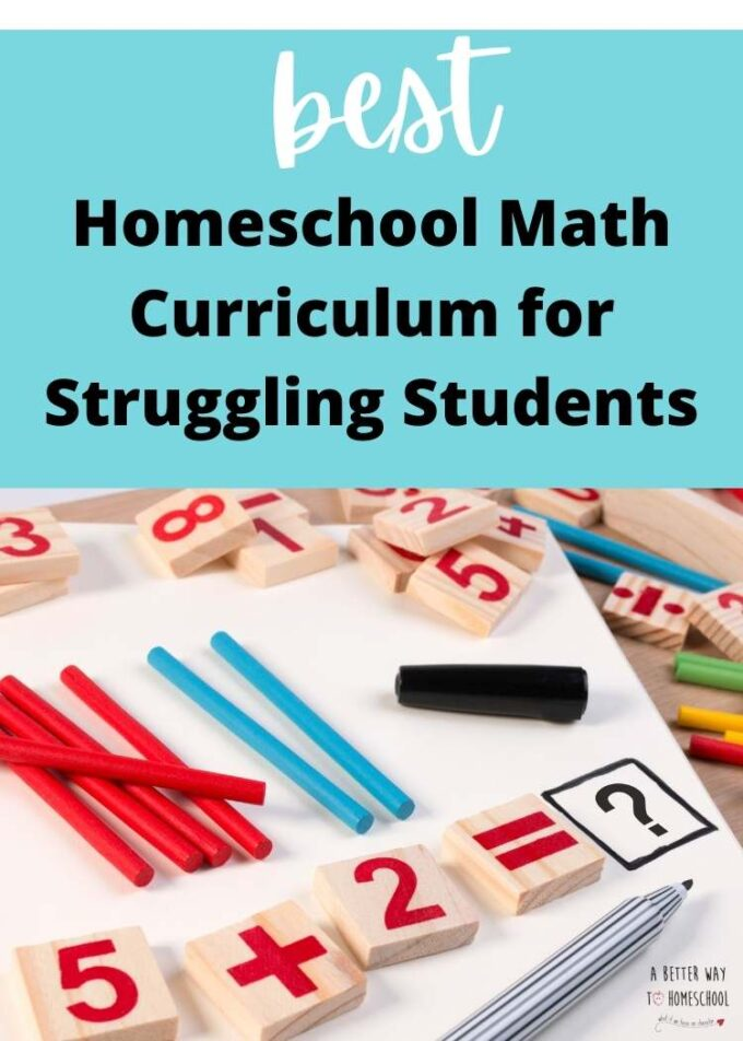 image of math tiles and text best homeschool math curriculum for struggling students