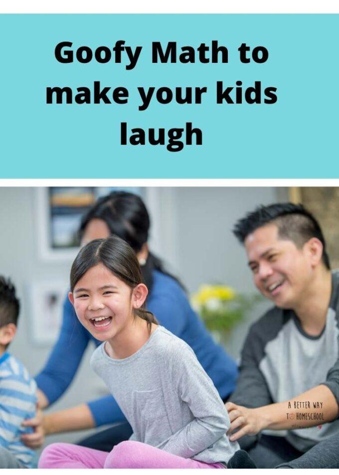 image of laughing kids with text goofy math to make your kids laugh