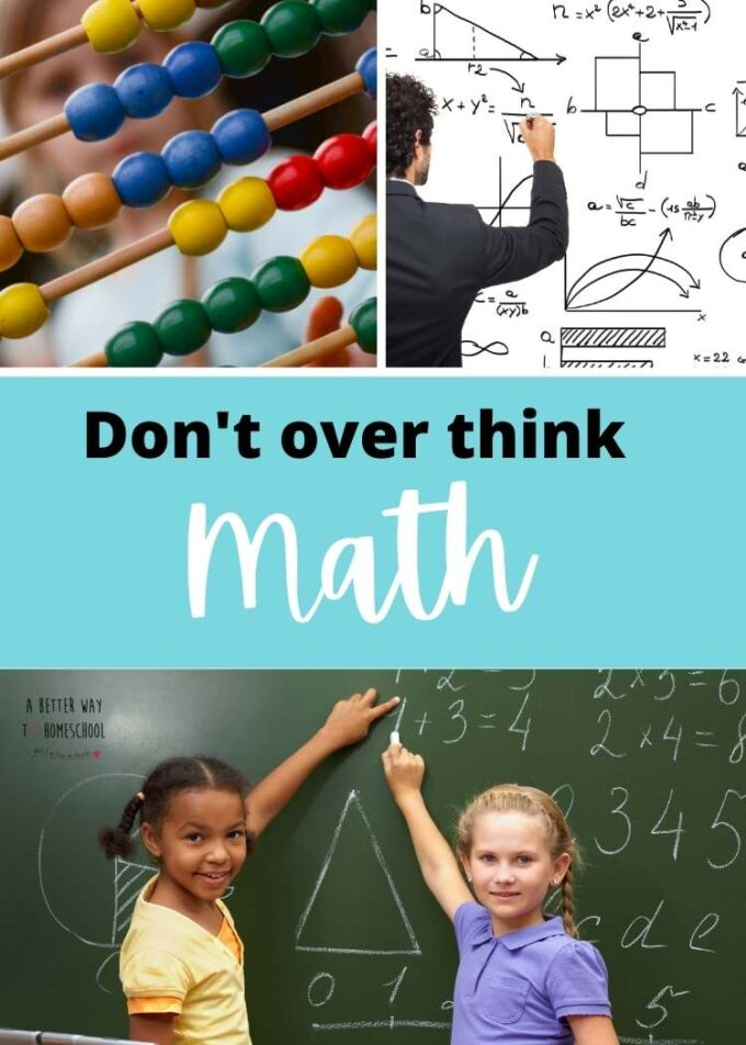collage of math images with the text don't overthink mat