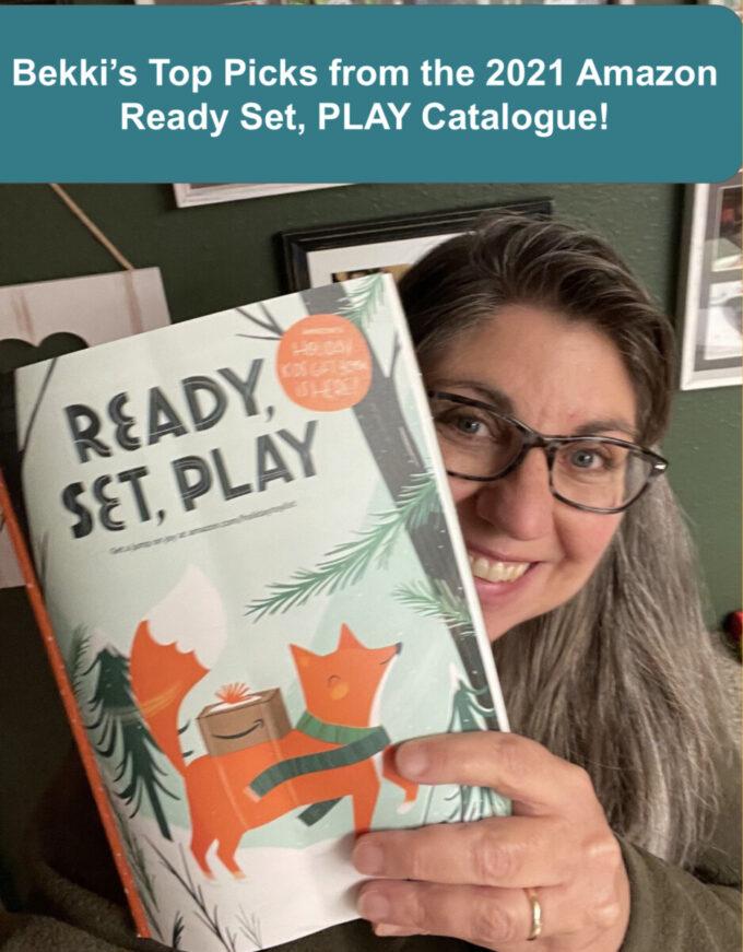 Bekki holding the Amazon Ready set play catalogue