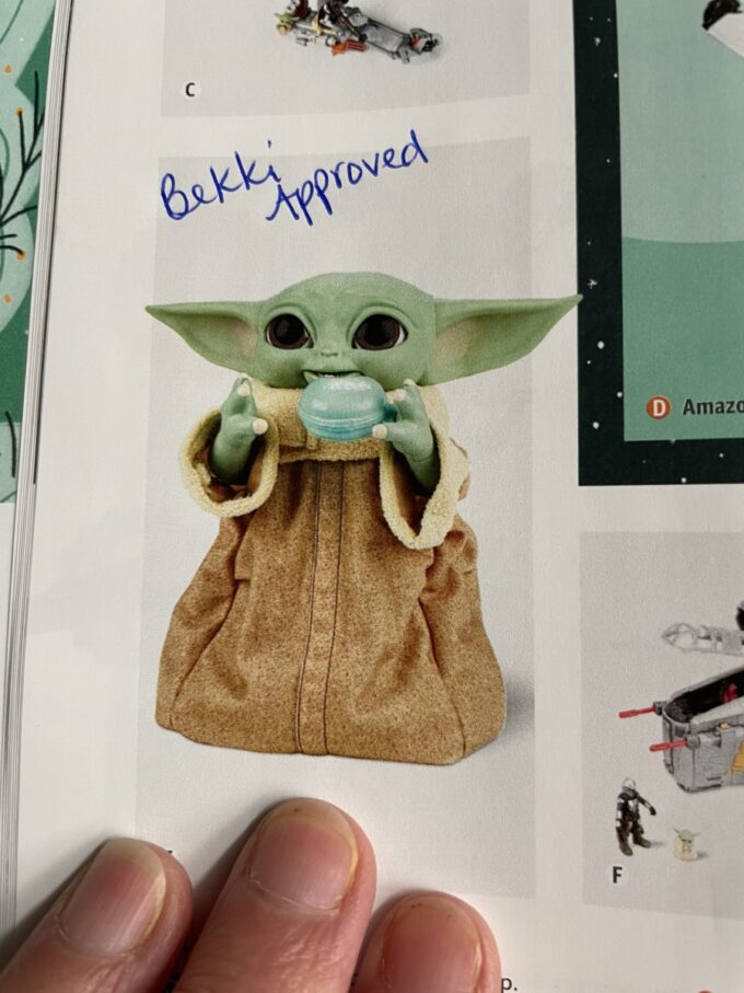 Baby Yoda toy with handwriting Bekki Approves